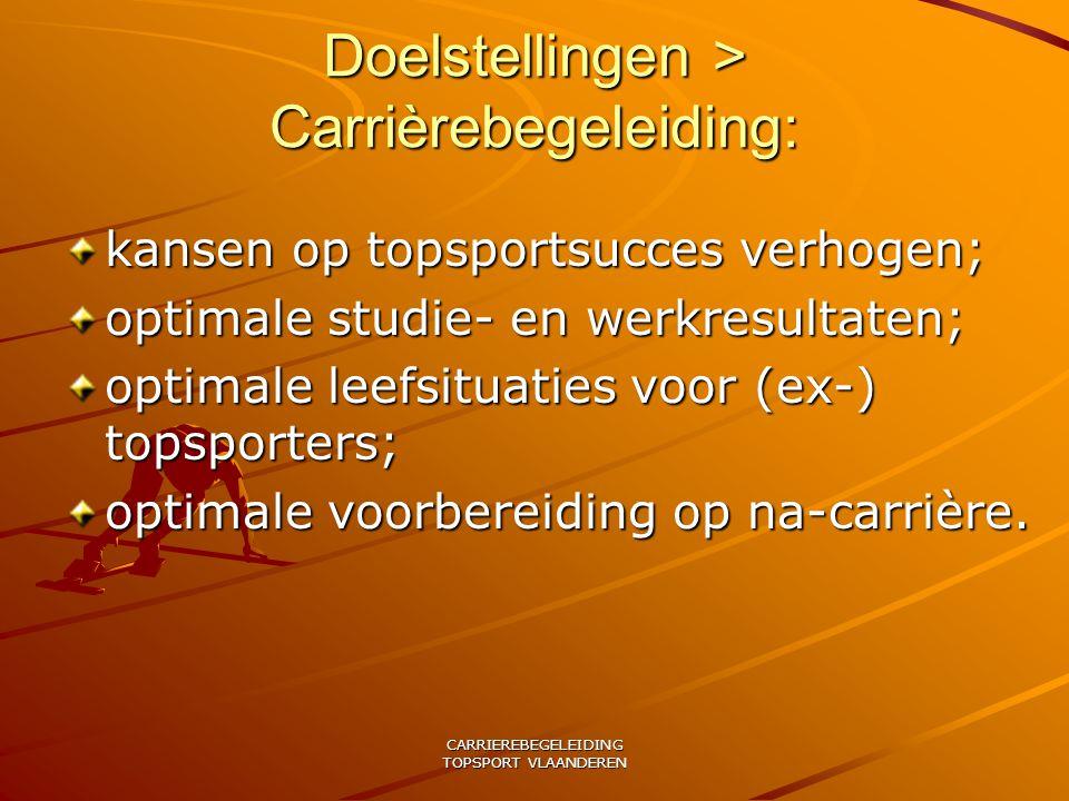 CARRIEREBEGELEIDING TOPSPORT VLAANDEREN Doelstellingen > Carrièrebegeleiding: kansen op topsportsucces verhogen; optimale studie- en werkresultaten; optimale leefsituaties voor (ex-) topsporters; optimale voorbereiding op na-carrière.