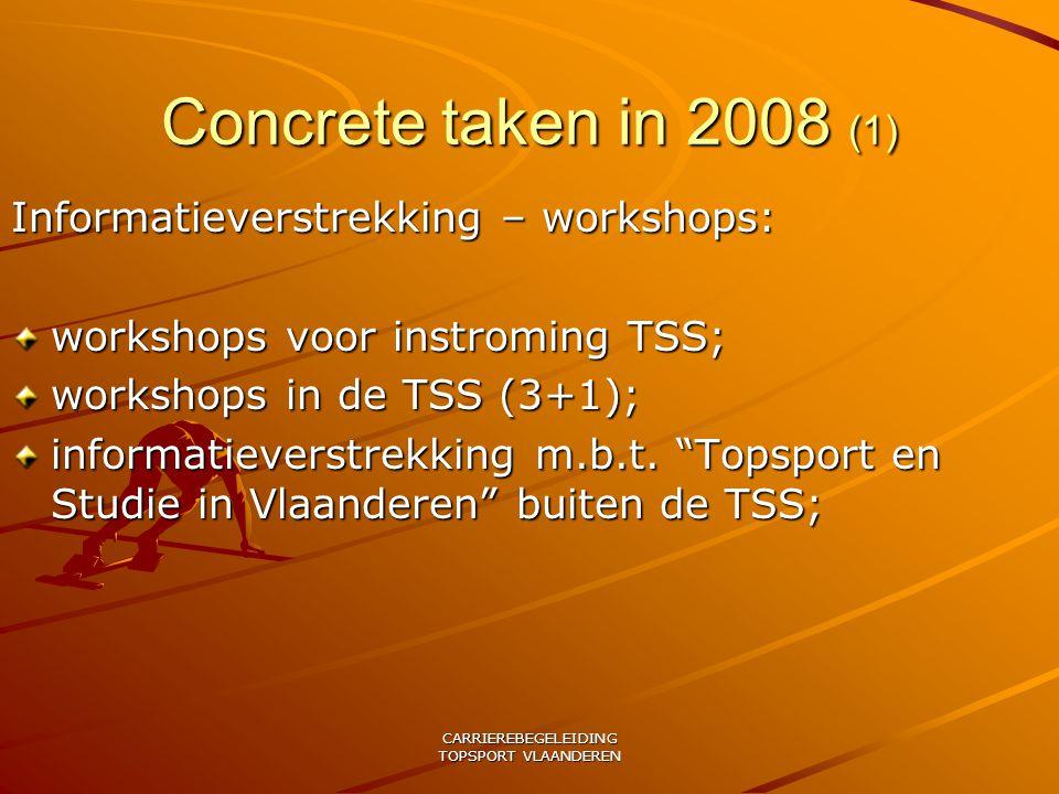 CARRIEREBEGELEIDING TOPSPORT VLAANDEREN Concrete taken in 2008 (1) Informatieverstrekking – workshops: workshops voor instroming TSS; workshops in de TSS (3+1); informatieverstrekking m.b.t.