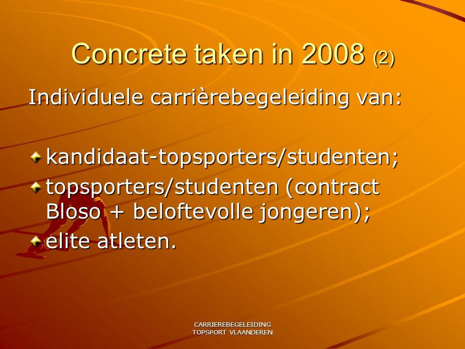 CARRIEREBEGELEIDING TOPSPORT VLAANDEREN Concrete taken in 2008 (2) Individuele carrièrebegeleiding van: kandidaat-topsporters/studenten; topsporters/studenten (contract Bloso + beloftevolle jongeren); elite atleten.