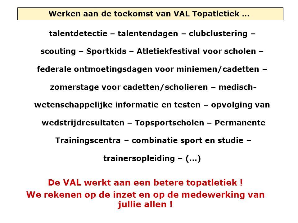 Werken aan de toekomst van VAL Topatletiek … talentdetectie – talentendagen – clubclustering – scouting – Sportkids – Atletiekfestival voor scholen –