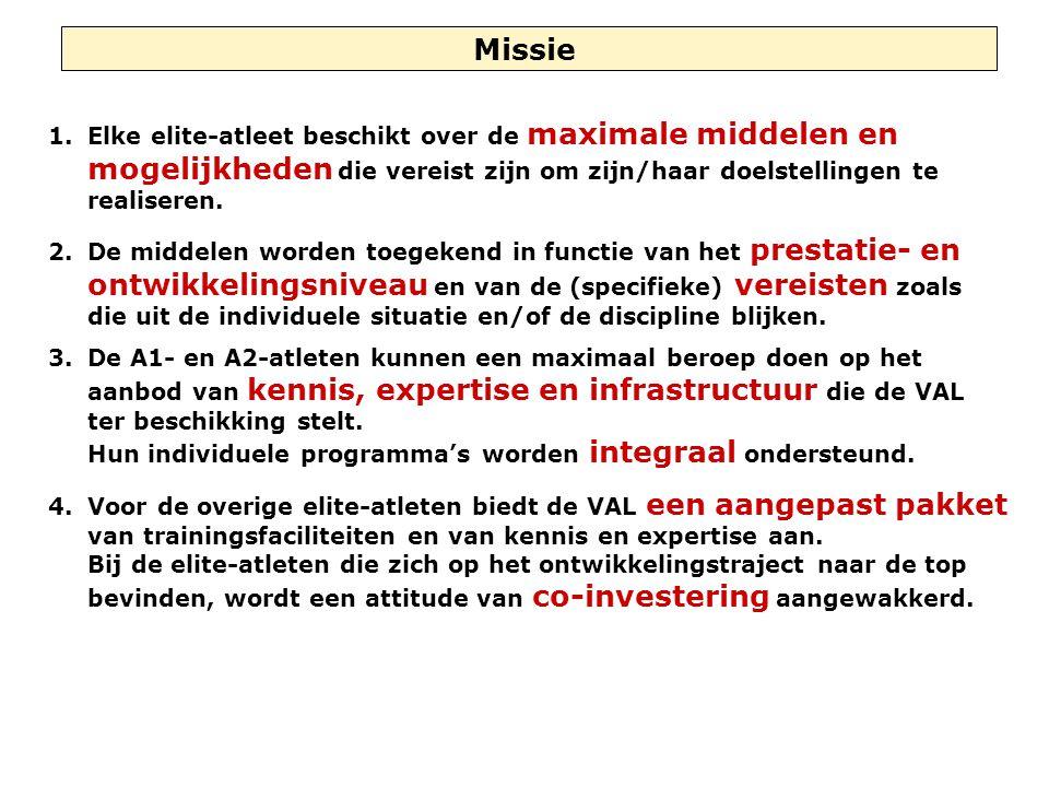 Missie 1.Elke elite-atleet beschikt over de maximale middelen en mogelijkheden die vereist zijn om zijn/haar doelstellingen te realiseren. 2.De middel
