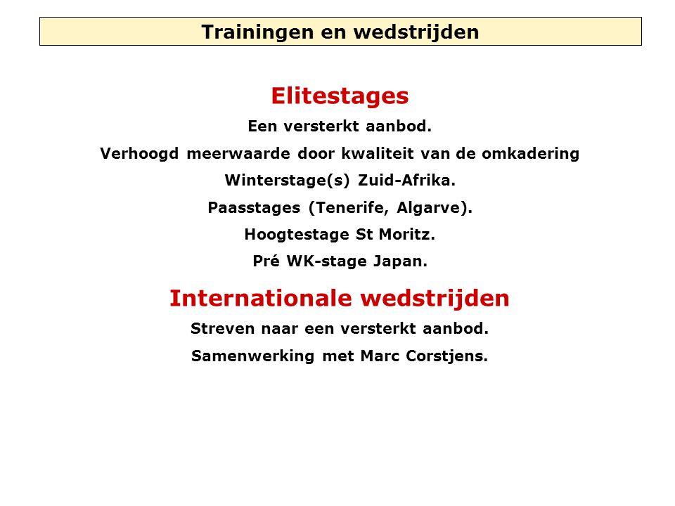 Trainingen en wedstrijden Elitestages Een versterkt aanbod. Verhoogd meerwaarde door kwaliteit van de omkadering Winterstage(s) Zuid-Afrika. Paasstage