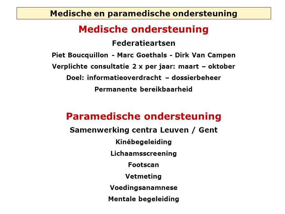 Medische en paramedische ondersteuning Medische ondersteuning Federatieartsen Piet Boucquillon - Marc Goethals - Dirk Van Campen Verplichte consultati