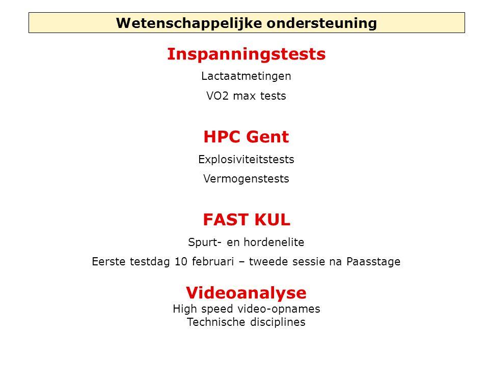 Wetenschappelijke ondersteuning Inspanningstests Lactaatmetingen VO2 max tests HPC Gent Explosiviteitstests Vermogenstests FAST KUL Spurt- en hordenel