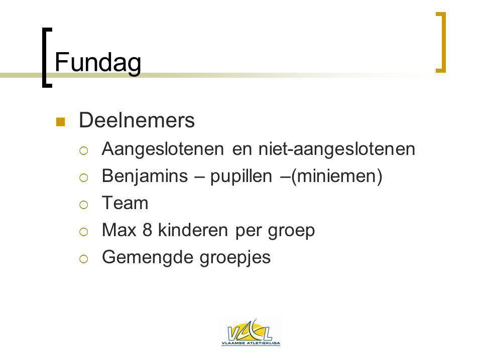 Fundag Deelnemers  Aangeslotenen en niet-aangeslotenen  Benjamins – pupillen –(miniemen)  Team  Max 8 kinderen per groep  Gemengde groepjes