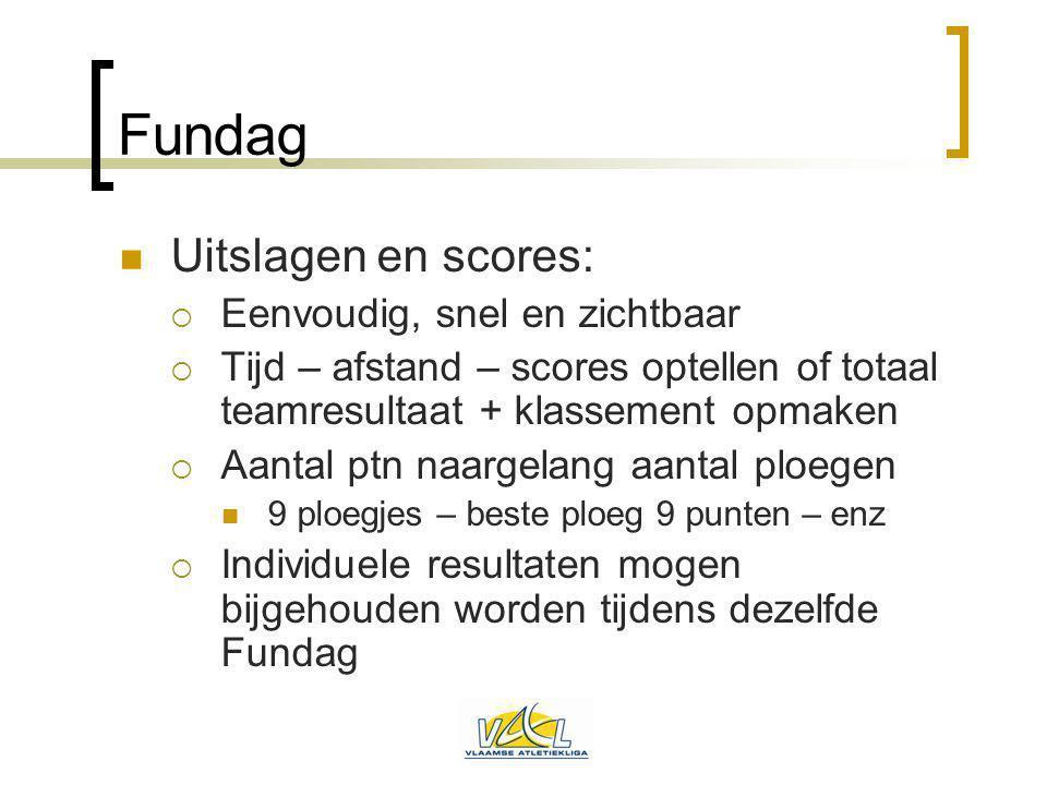 Fundag Uitslagen en scores:  Eenvoudig, snel en zichtbaar  Tijd – afstand – scores optellen of totaal teamresultaat + klassement opmaken  Aantal pt