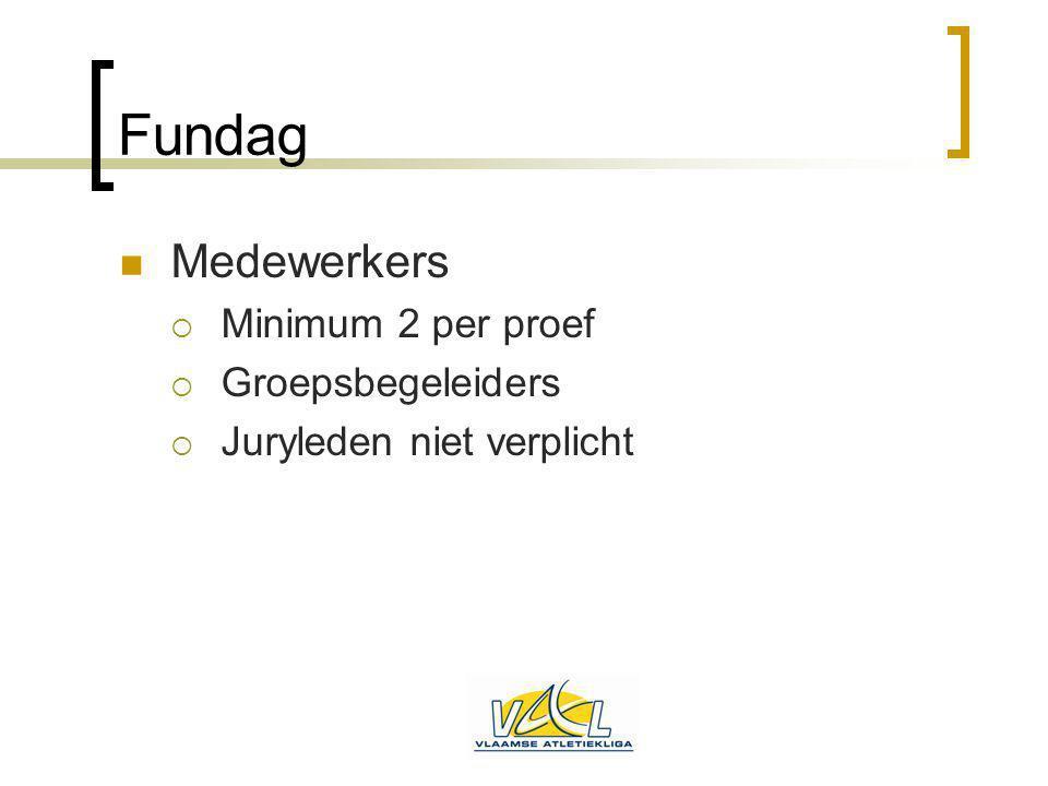Fundag Medewerkers  Minimum 2 per proef  Groepsbegeleiders  Juryleden niet verplicht