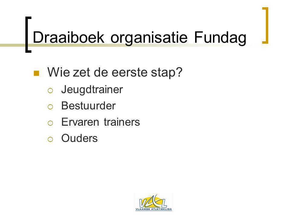 Draaiboek organisatie Fundag Wie zet de eerste stap?  Jeugdtrainer  Bestuurder  Ervaren trainers  Ouders