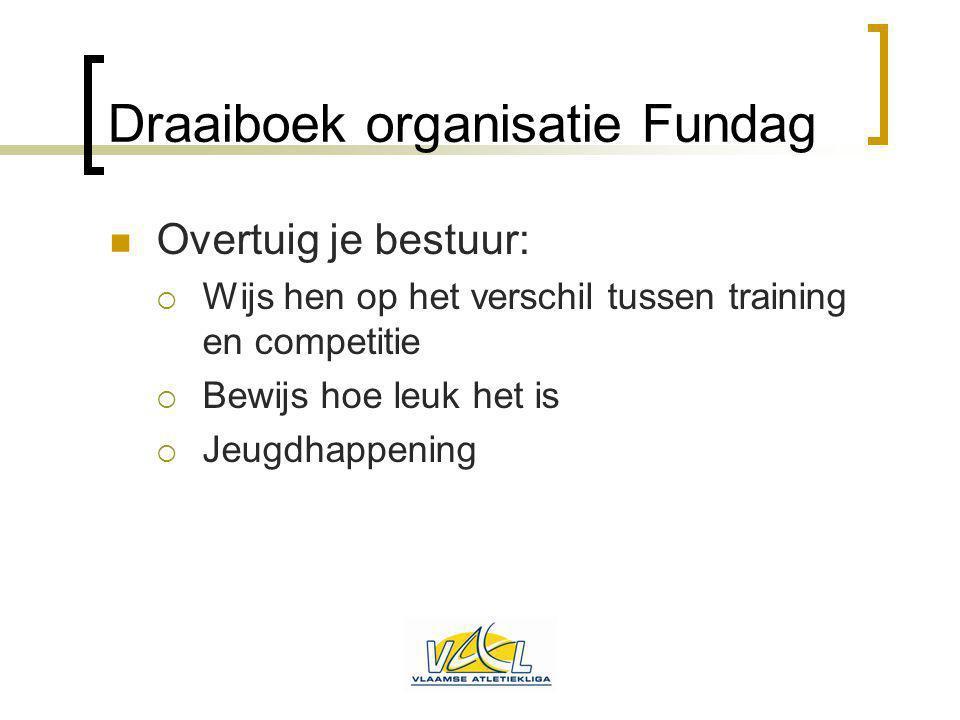 Draaiboek organisatie Fundag Overtuig je bestuur:  Wijs hen op het verschil tussen training en competitie  Bewijs hoe leuk het is  Jeugdhappening