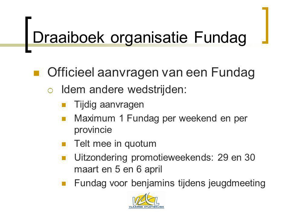 Draaiboek organisatie Fundag Officieel aanvragen van een Fundag  Idem andere wedstrijden: Tijdig aanvragen Maximum 1 Fundag per weekend en per provin