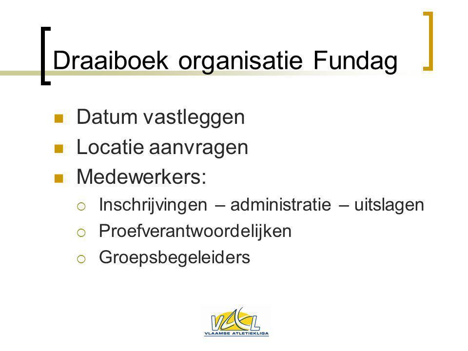 Draaiboek organisatie Fundag Datum vastleggen Locatie aanvragen Medewerkers:  Inschrijvingen – administratie – uitslagen  Proefverantwoordelijken 