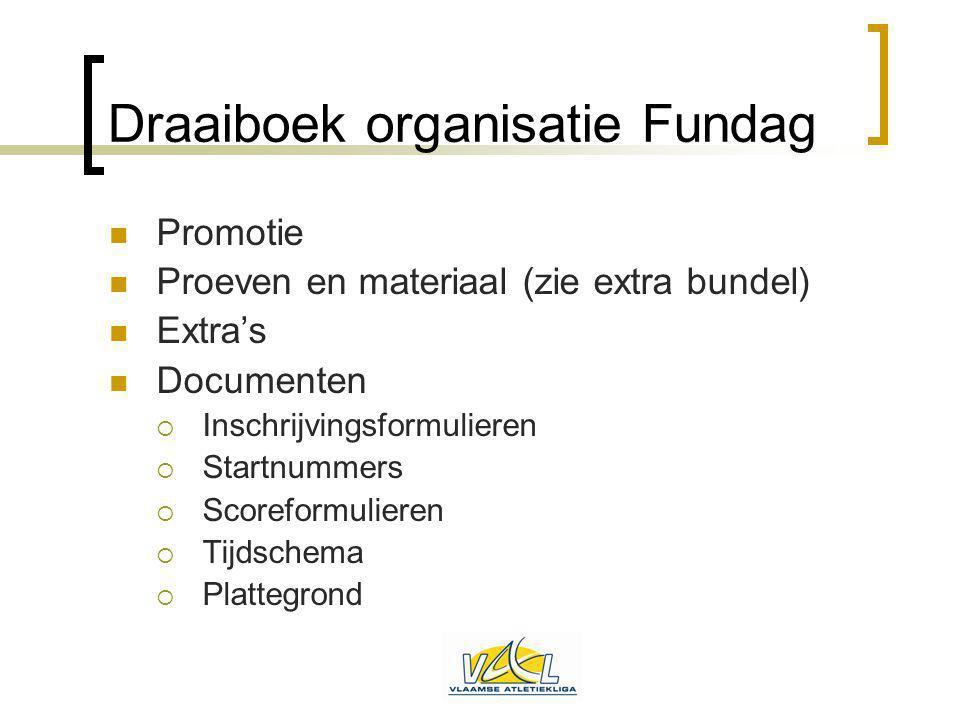 Draaiboek organisatie Fundag Promotie Proeven en materiaal (zie extra bundel) Extra's Documenten  Inschrijvingsformulieren  Startnummers  Scoreform