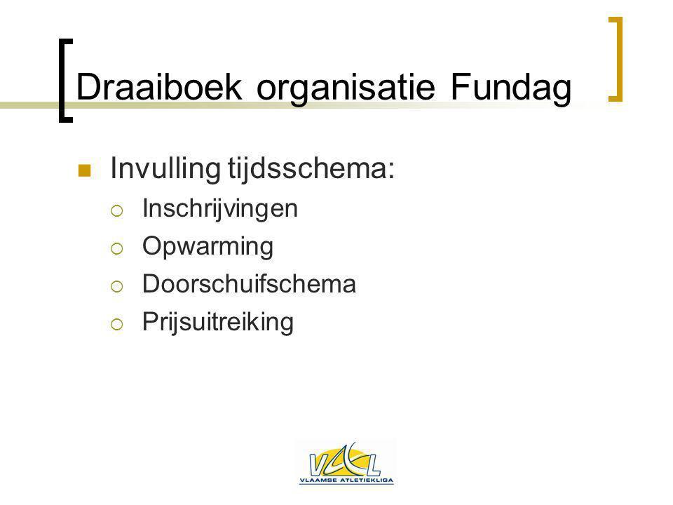 Draaiboek organisatie Fundag Invulling tijdsschema:  Inschrijvingen  Opwarming  Doorschuifschema  Prijsuitreiking