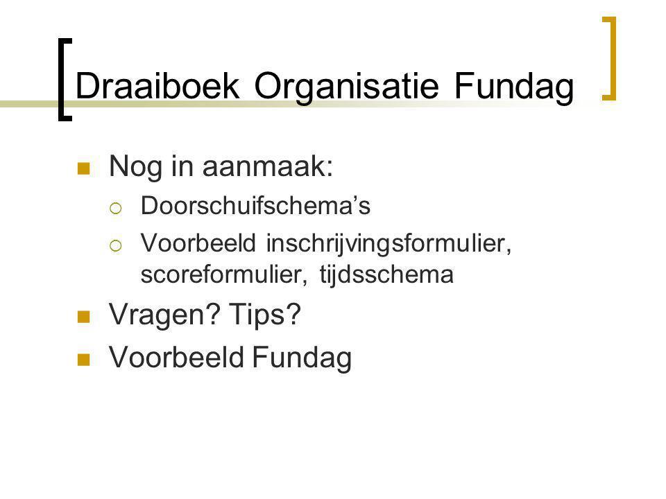 Draaiboek Organisatie Fundag Nog in aanmaak:  Doorschuifschema's  Voorbeeld inschrijvingsformulier, scoreformulier, tijdsschema Vragen? Tips? Voorbe