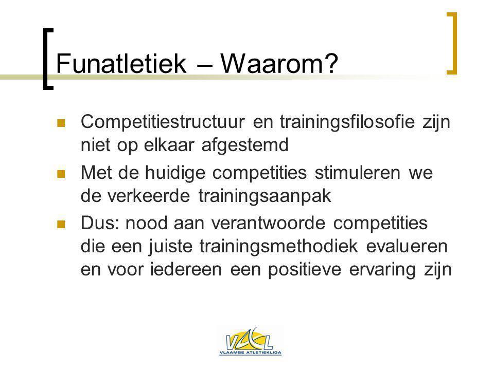 Funatletiek – Waarom? Competitiestructuur en trainingsfilosofie zijn niet op elkaar afgestemd Met de huidige competities stimuleren we de verkeerde tr