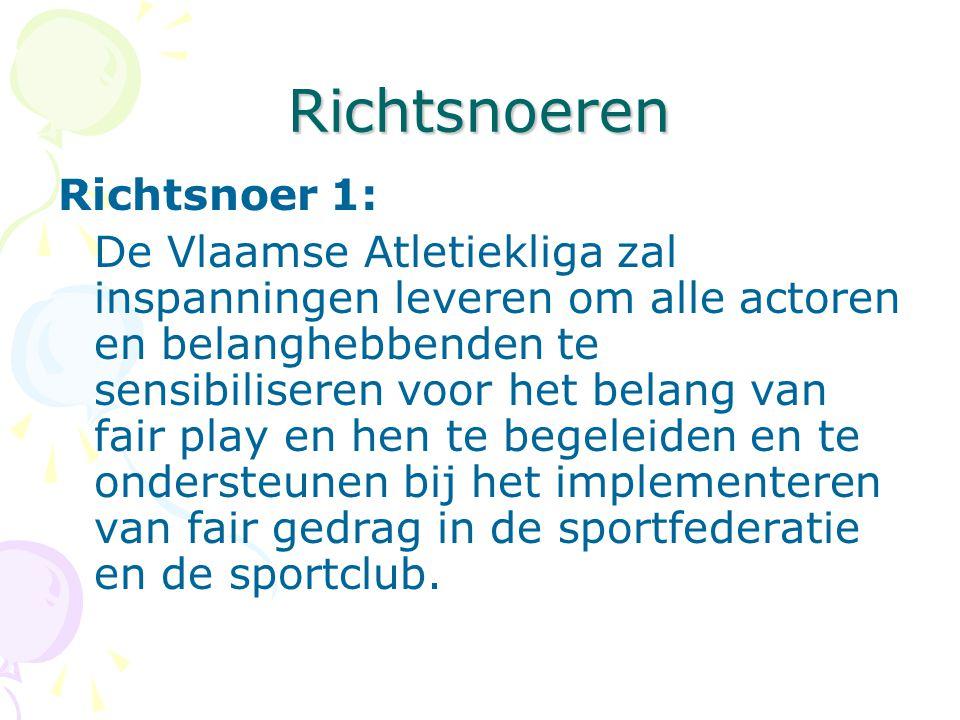 Richtsnoeren Richtsnoer 1: De Vlaamse Atletiekliga zal inspanningen leveren om alle actoren en belanghebbenden te sensibiliseren voor het belang van fair play en hen te begeleiden en te ondersteunen bij het implementeren van fair gedrag in de sportfederatie en de sportclub.