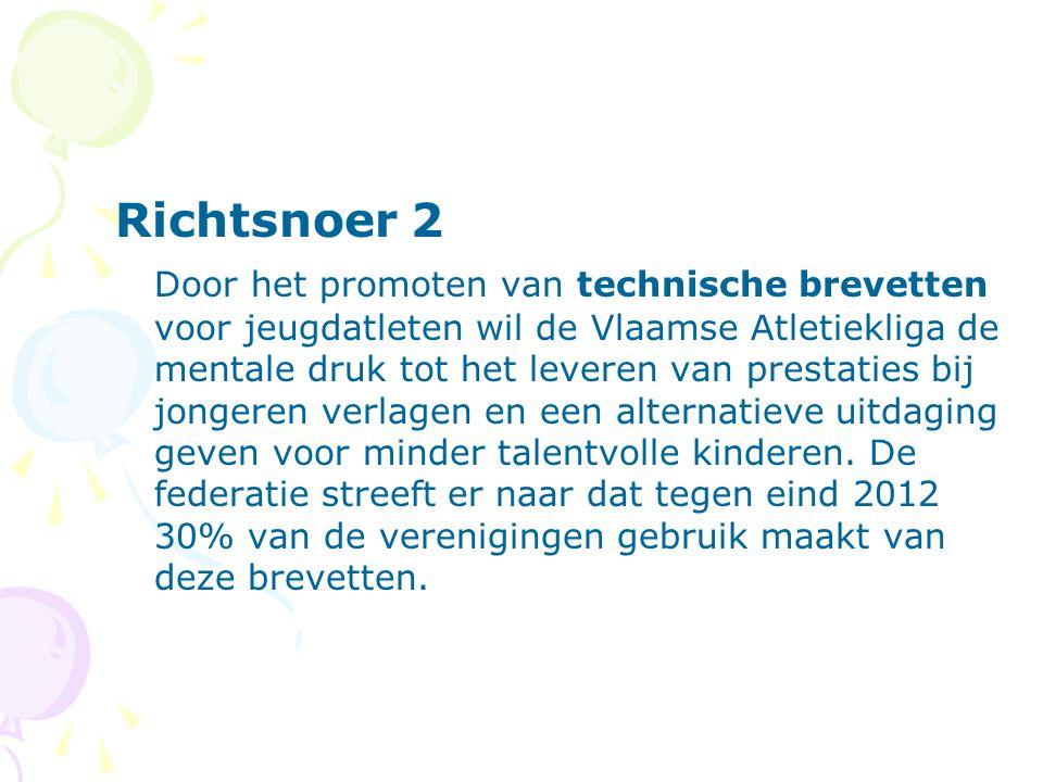 Richtsnoer 2 Door het promoten van technische brevetten voor jeugdatleten wil de Vlaamse Atletiekliga de mentale druk tot het leveren van prestaties bij jongeren verlagen en een alternatieve uitdaging geven voor minder talentvolle kinderen.