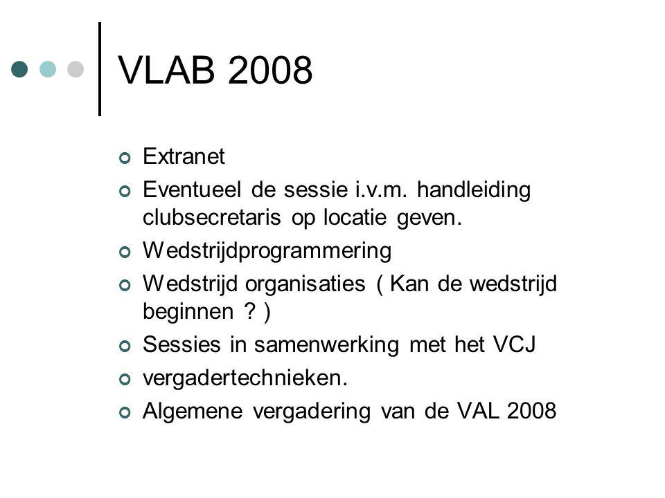 VLAB 2008 Extranet Eventueel de sessie i.v.m. handleiding clubsecretaris op locatie geven.