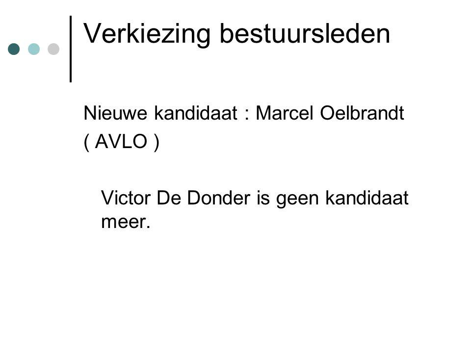 Verkiezing bestuursleden Nieuwe kandidaat : Marcel Oelbrandt ( AVLO ) Victor De Donder is geen kandidaat meer.