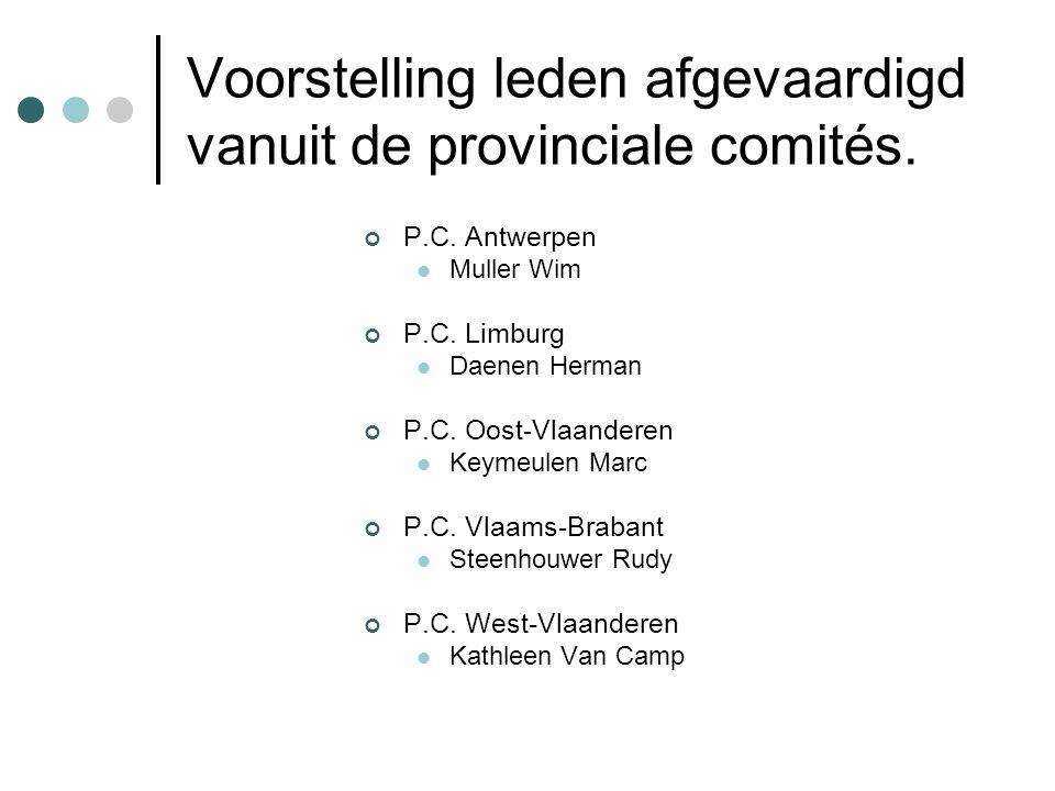 Voorstelling leden afgevaardigd vanuit de provinciale comités.