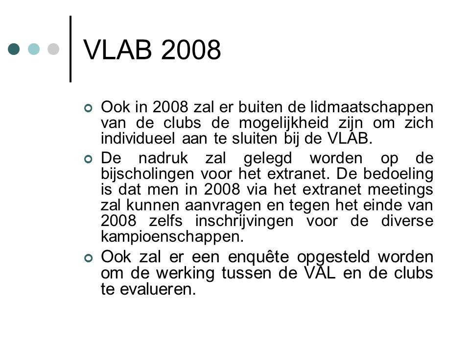 VLAB 2008 Ook in 2008 zal er buiten de lidmaatschappen van de clubs de mogelijkheid zijn om zich individueel aan te sluiten bij de VLAB.