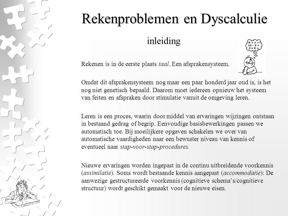 Rekenproblemen en Dyscalculie Rekenen is in de eerste plaats taal. Een afsprakensysteem. Omdat dit afsprakensysteem nog maar een paar honderd jaar oud