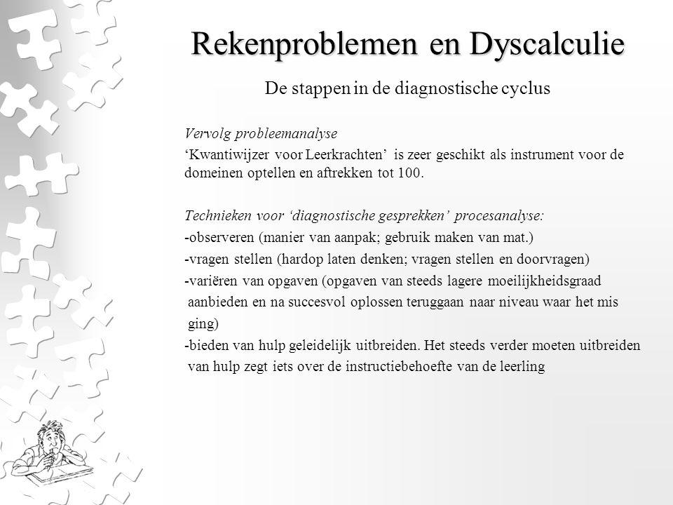 Rekenproblemen en Dyscalculie Vervolg probleemanalyse 'Kwantiwijzer voor Leerkrachten' is zeer geschikt als instrument voor de domeinen optellen en af