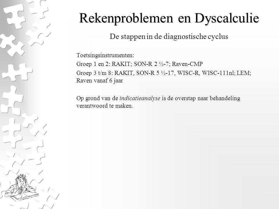 Rekenproblemen en Dyscalculie Toetsingsinstrumenten: Groep 1 en 2: RAKIT; SON-R 2 ½-7; Raven-CMP Groep 3 t/m 8: RAKIT, SON-R 5 ½-17, WISC-R, WISC-111n