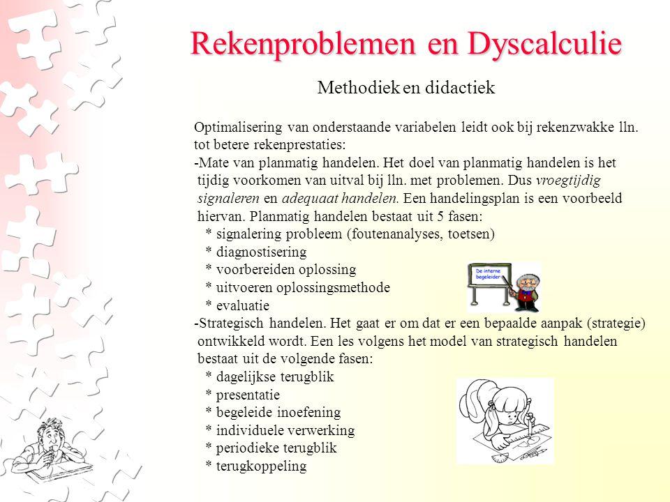 Rekenproblemen en Dyscalculie Methodiek en didactiek Optimalisering van onderstaande variabelen leidt ook bij rekenzwakke lln. tot betere rekenprestat
