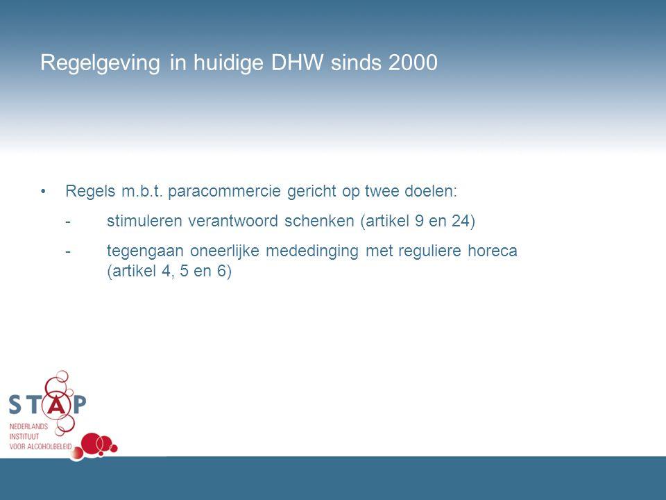 Regelgeving in huidige DHW sinds 2000 Regels m.b.t. paracommercie gericht op twee doelen: -stimuleren verantwoord schenken (artikel 9 en 24) -tegengaa