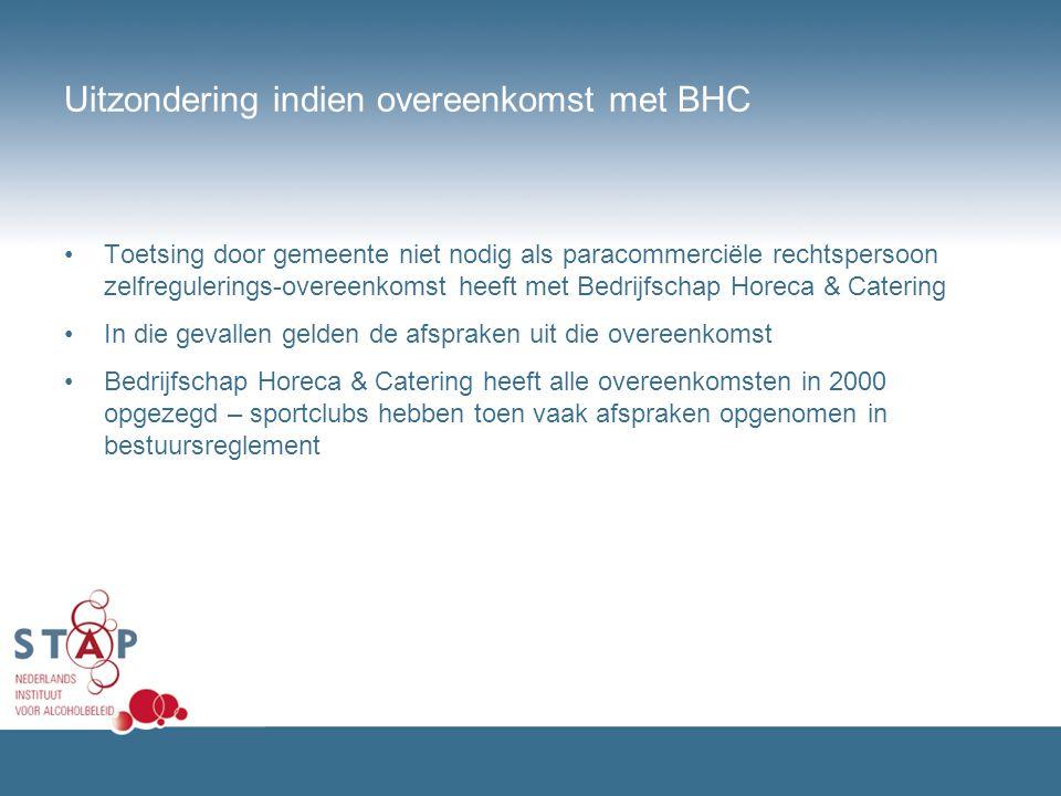 Uitzondering indien overeenkomst met BHC Toetsing door gemeente niet nodig als paracommerciële rechtspersoon zelfregulerings-overeenkomst heeft met Be