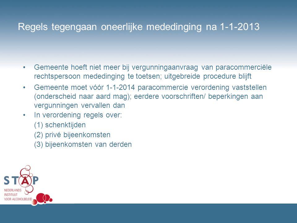 Regels tegengaan oneerlijke mededinging na 1-1-2013 Gemeente hoeft niet meer bij vergunningaanvraag van paracommerciële rechtspersoon mededinging te t