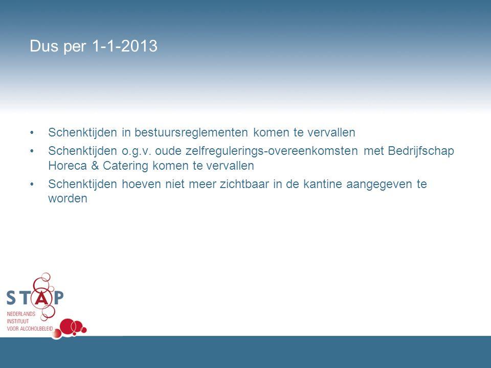 Dus per 1-1-2013 Schenktijden in bestuursreglementen komen te vervallen Schenktijden o.g.v. oude zelfregulerings-overeenkomsten met Bedrijfschap Horec