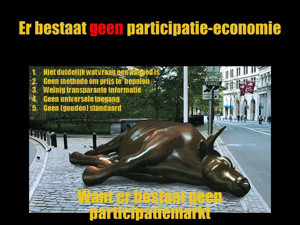 Er bestaat geen participatie-economie 1.Niet duidelijk wat vraag een aanbod is 2.Geen methode om prijs te bepalen 3.Weinig transparante informatie 4.G