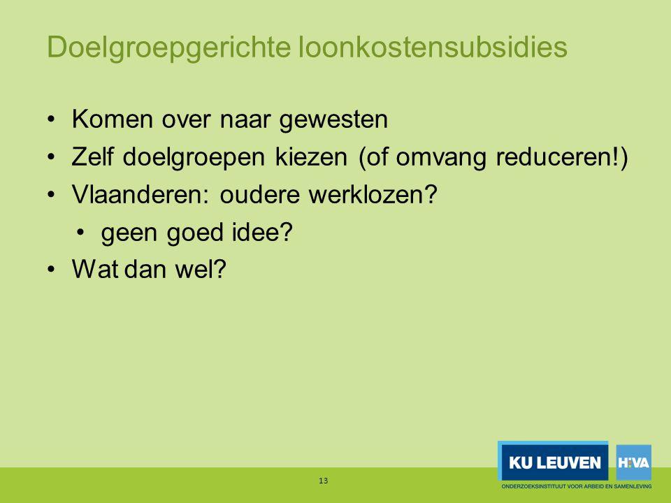 Doelgroepgerichte loonkostensubsidies Komen over naar gewesten Zelf doelgroepen kiezen (of omvang reduceren!) Vlaanderen: oudere werklozen.