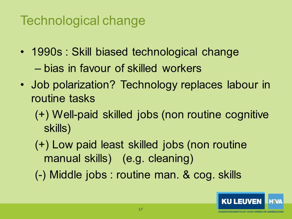 Technological change 1990s : Skill biased technological change –bias in favour of skilled workers Job polarization? Technology replaces labour in rout