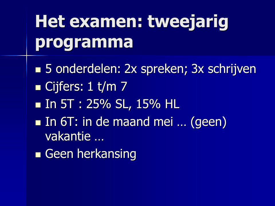Het examen: tweejarig programma 5 onderdelen: 2x spreken; 3x schrijven 5 onderdelen: 2x spreken; 3x schrijven Cijfers: 1 t/m 7 Cijfers: 1 t/m 7 In 5T
