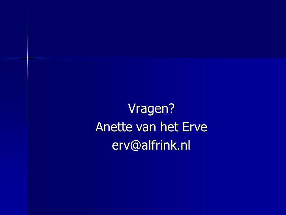 Vragen? Anette van het Erve erv@alfrink.nl