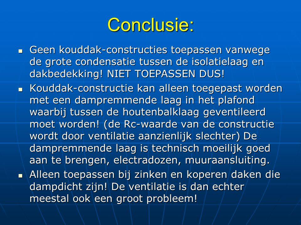 Conclusie: Geen kouddak-constructies toepassen vanwege de grote condensatie tussen de isolatielaag en dakbedekking! NIET TOEPASSEN DUS! Geen kouddak-c