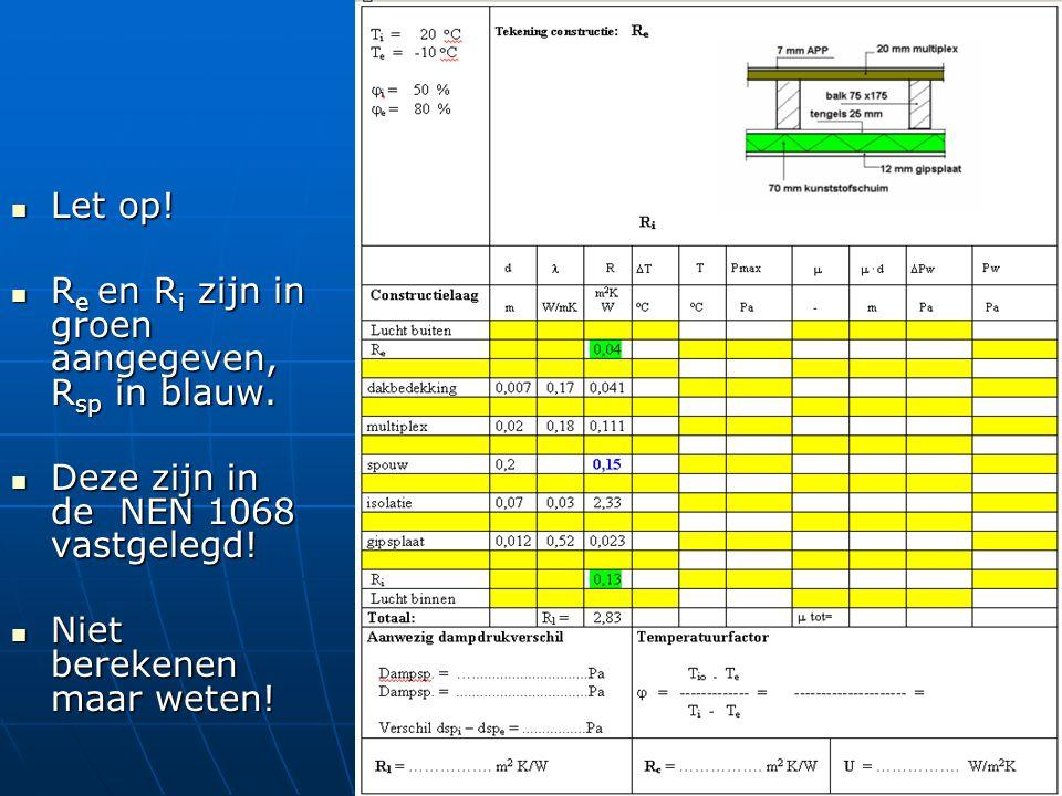 Let op! Let op! R e en R i zijn in groen aangegeven, R sp in blauw. R e en R i zijn in groen aangegeven, R sp in blauw. Deze zijn in de NEN 1068 vastg