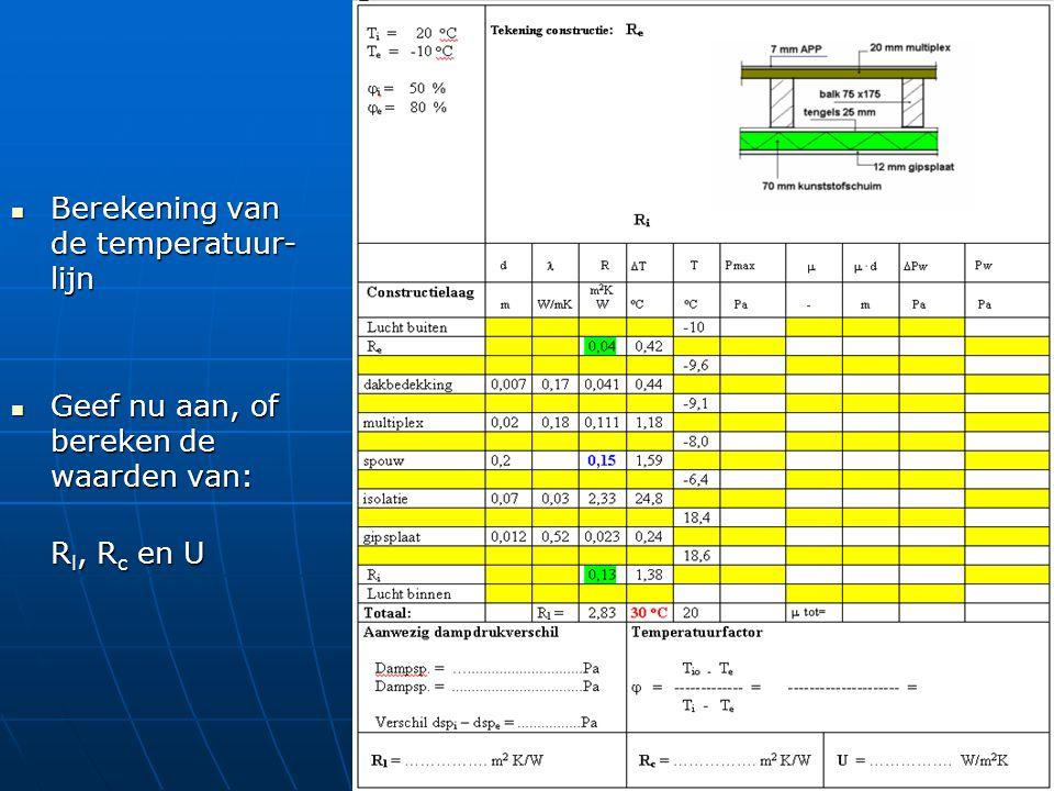 Berekening van de temperatuur- lijn Berekening van de temperatuur- lijn Geef nu aan, of bereken de waarden van: Geef nu aan, of bereken de waarden van