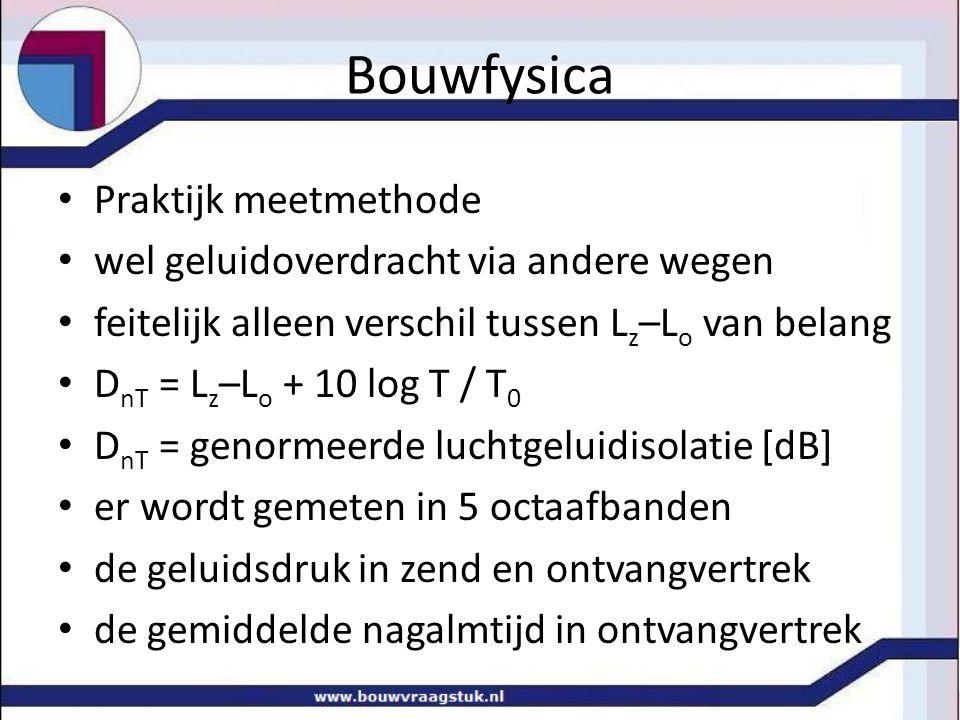 Bouwfysica Praktijk meetmethode wel geluidoverdracht via andere wegen feitelijk alleen verschil tussen L z –L o van belang D nT = L z –L o + 10 log T
