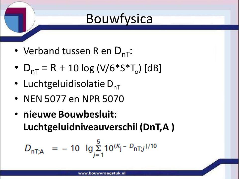 Bouwfysica Verband tussen R en D nT : D nT = R + 10 log (V/6*S*T o ) [dB] Luchtgeluidisolatie D nT NEN 5077 en NPR 5070 nieuwe Bouwbesluit: Luchtgeluidniveauverschil (DnT,A )