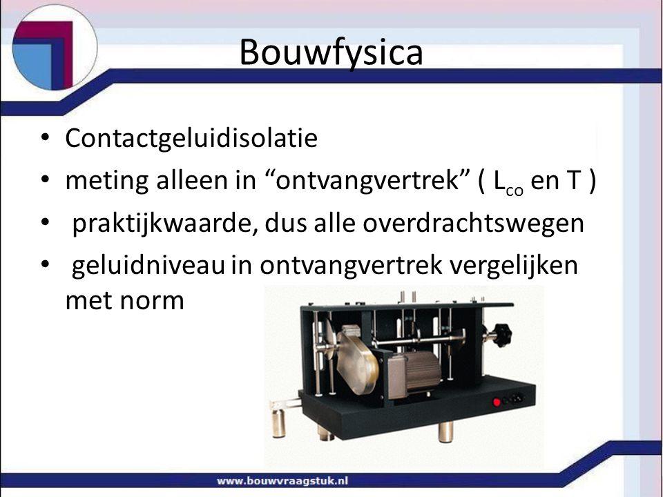 """Bouwfysica Contactgeluidisolatie meting alleen in """"ontvangvertrek"""" ( L co en T ) praktijkwaarde, dus alle overdrachtswegen geluidniveau in ontvangvert"""