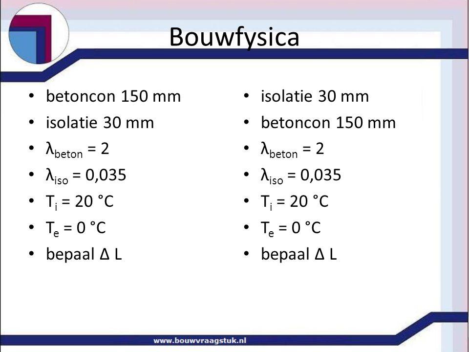 Bouwfysica betoncon 150 mm isolatie 30 mm λ beton = 2 λ iso = 0,035 T i = 20 °C T e = 0 °C bepaal Δ L isolatie 30 mm betoncon 150 mm λ beton = 2 λ iso