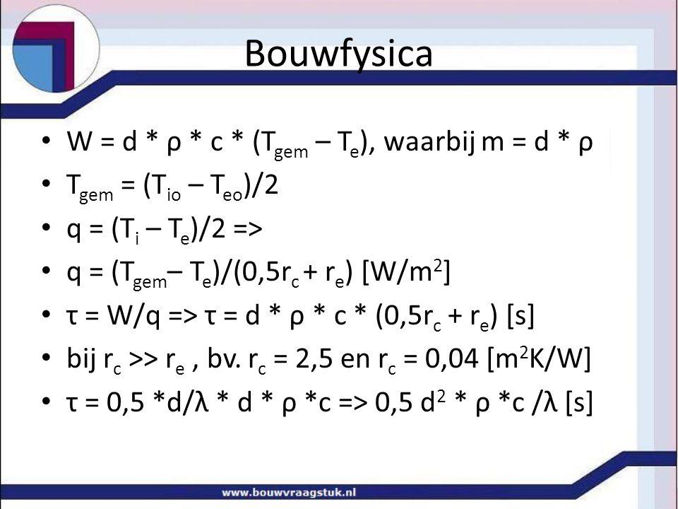 Bouwfysica W = d * ρ * c * (T gem – T e ), waarbij m = d * ρ T gem = (T io – T eo )/2 q = (T i – T e )/2 => q = (T gem – T e )/(0,5r c + r e ) [W/m 2