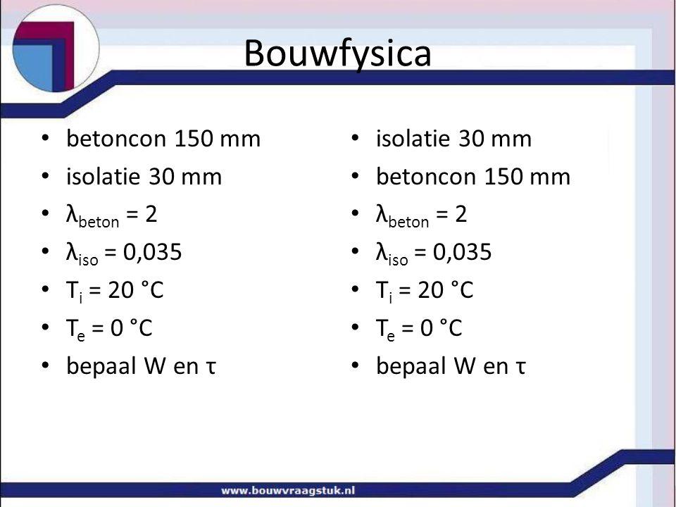 Bouwfysica betoncon 150 mm isolatie 30 mm λ beton = 2 λ iso = 0,035 T i = 20 °C T e = 0 °C bepaal W en τ isolatie 30 mm betoncon 150 mm λ beton = 2 λ