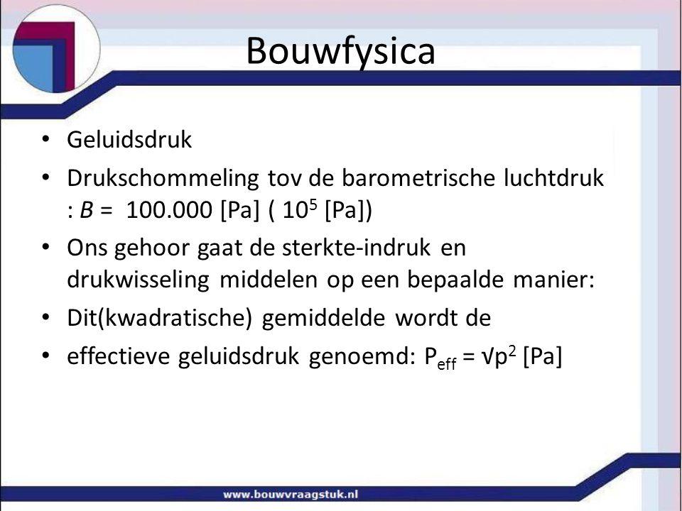 Bouwfysica Geluidsdruk Drukschommeling tov de barometrische luchtdruk : B = 100.000 [Pa] ( 10 5 [Pa]) Ons gehoor gaat de sterkte-indruk en drukwisseli