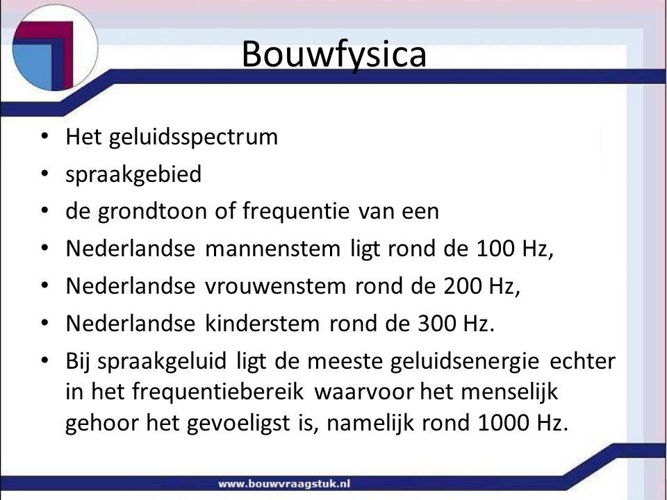 Bouwfysica Het geluidsspectrum spraakgebied de grondtoon of frequentie van een Nederlandse mannenstem ligt rond de 100 Hz, Nederlandse vrouwenstem ron