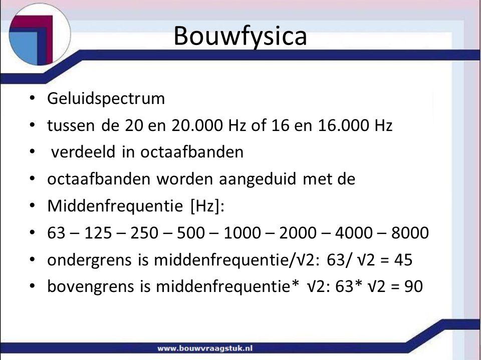 Geluidspectrum tussen de 20 en 20.000 Hz of 16 en 16.000 Hz verdeeld in octaafbanden octaafbanden worden aangeduid met de Middenfrequentie [Hz]: 63 – 125 – 250 – 500 – 1000 – 2000 – 4000 – 8000 ondergrens is middenfrequentie/√2: 63/ √2 = 45 bovengrens is middenfrequentie* √2: 63* √2 = 90